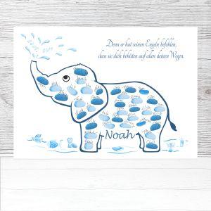 Elefant Taufe, Elefant Fingerabdrücke, Elefant Gästebuch Taufe, Elefant Dekoration Taufe