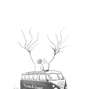 Fingerabdruck Bus, Fingerabdruck Baum Hochzeit