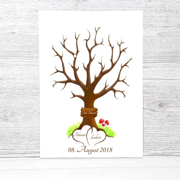 Wedding Tree, Fingerabdruckbaum Hochzeit