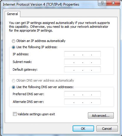 Setting up an IP address