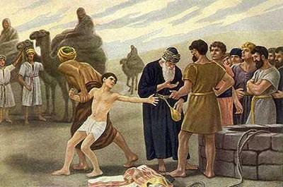 요셉이 형들에 의해 종으로 팔려가는 장면