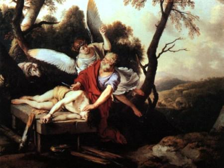 이삭을 정말 죽이려는 아브라함을 말리는 천사