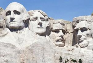 러시모어 바위의 대통령 얼굴들
