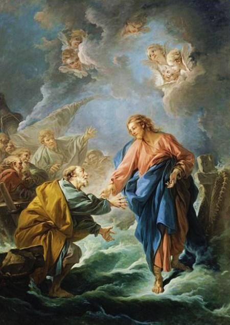물위를 걸으시는 예수님 by François Boucher