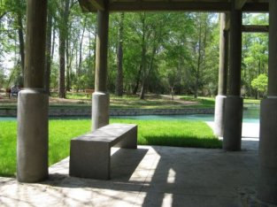 New stone bench in Tea House
