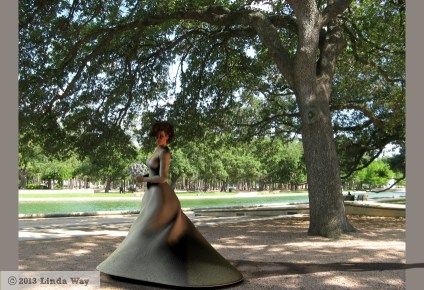 V4.2 modeling Kate Middleton's wedding dress, minus the veil, in a downtown Houston park