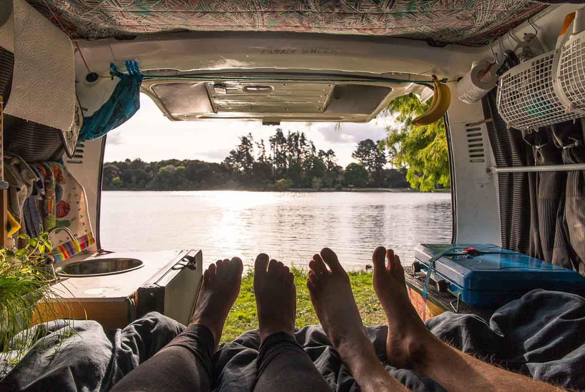 Feet in self contained van