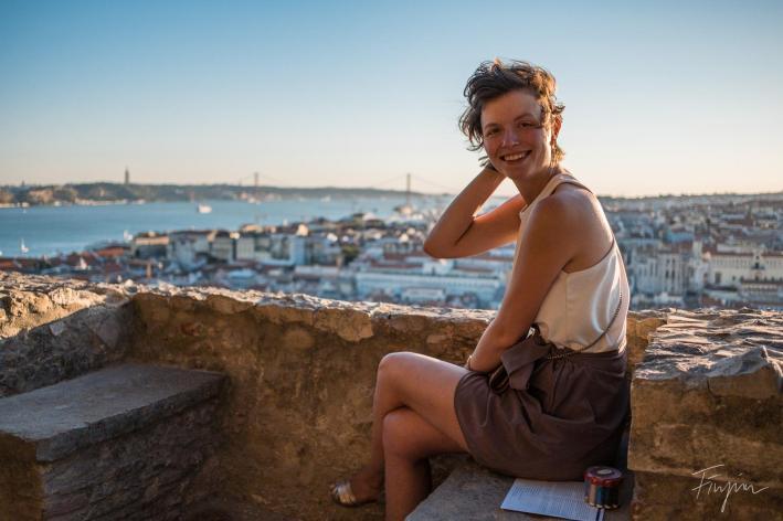 girl laughing lisbon sunset