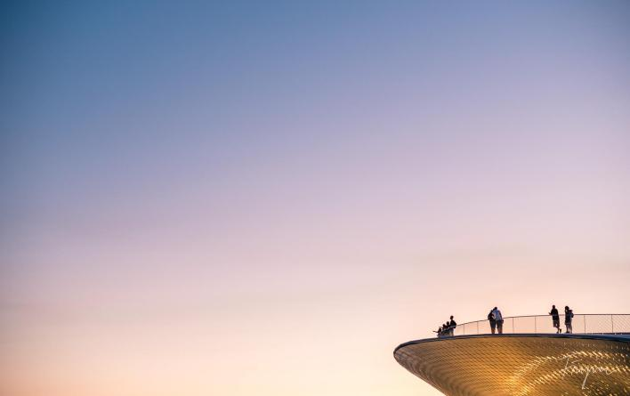 Sunset people tower lisbon