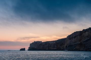 Nazare sunset coast ocean