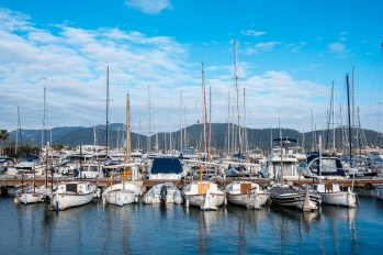 Sailing boats in a harbour on the island of Mallorca
