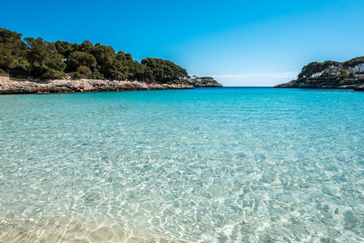 Cristal clear water in a bay on the island of Mallorca