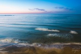 Long exposure of the waterfront in Tel Aviv at sunset