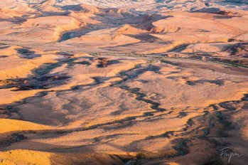 The view inside the Maktesh Ramon (crater) at sunset