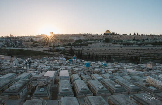 Sunset view of the old Town of Jerusalem
