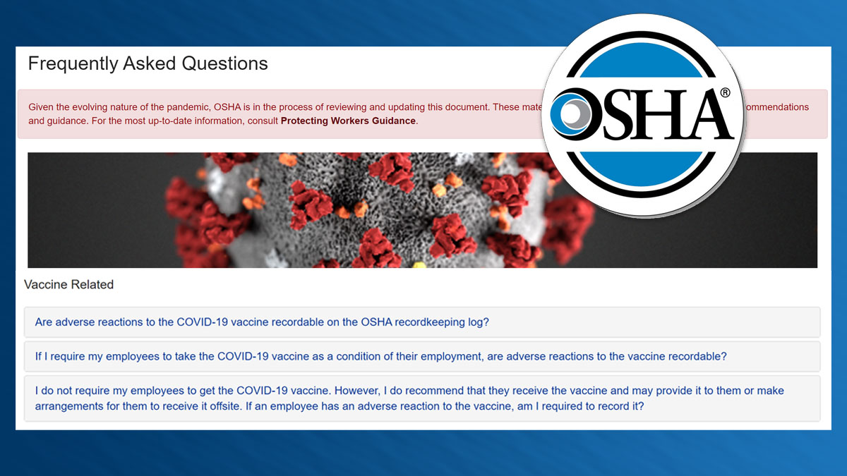 FCA News Header Image - OSHA Guidance on Adverse Vaccine Reactions