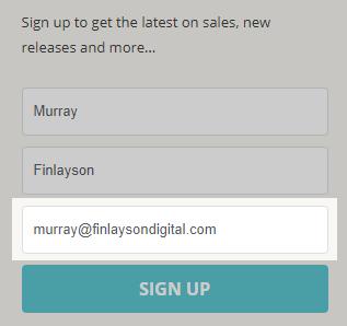 Embedded Shopify newsletter sign up form