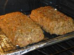 The meatloaves shortly after going in the oven, holding their shape nicely after chilling overnight