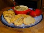 Julia Child's mousse de foie de volailles on oven-toasted baguette croutes