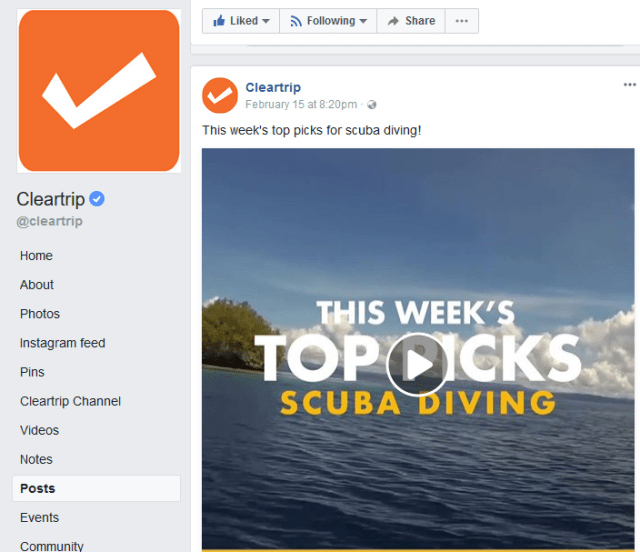 Facebook Post Example - ClearTrip