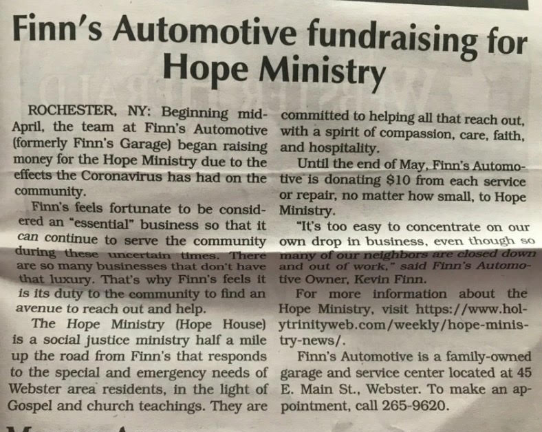 Finn's Automotive Fundraising for Hope Ministry – Webster Herald. 05/07/2020.