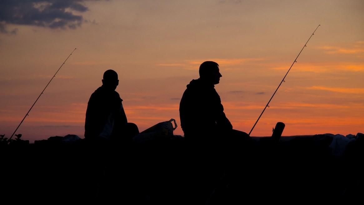 winter catfishing bank