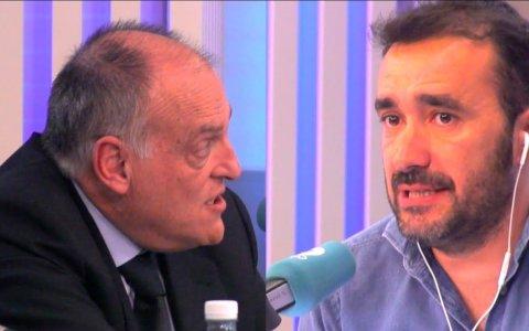 Así fue el 'enganchón' entre Tebas y Juanma Castaño en El Partidazo de Cope