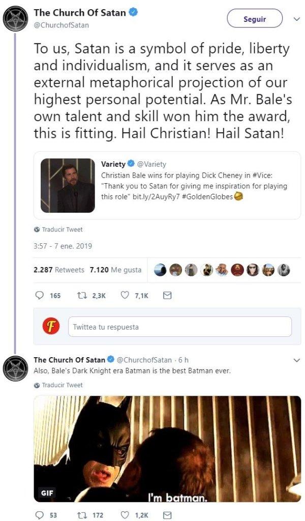 Christian Bale le da las gracias a Satanás al recoger su Globo de Oro