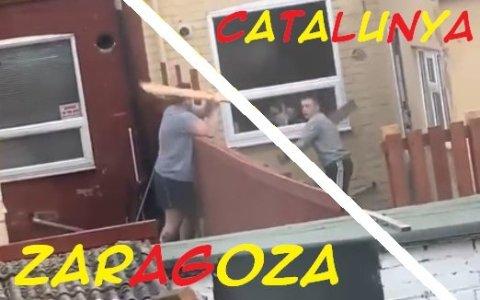 Así me imagino a los propietarios de dos chalets adosados justo en medio de la frontera entre Cataluña y Zaragoza