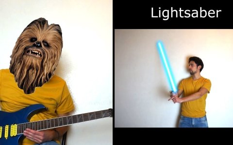 Un finolier recreando sonidos de StarWars con una guitarra eléctrica