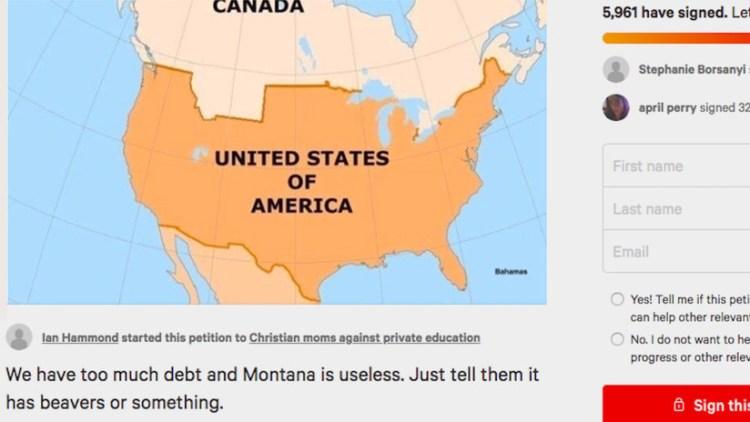 """Miles de personas firman una petición para vender la """"inútil"""" Montana a Canadá"""