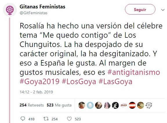Rosalía practica el antigitanismo