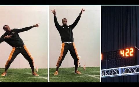 Usain Bolt iguala el record de las 40 yardas de la NFL... con bambas