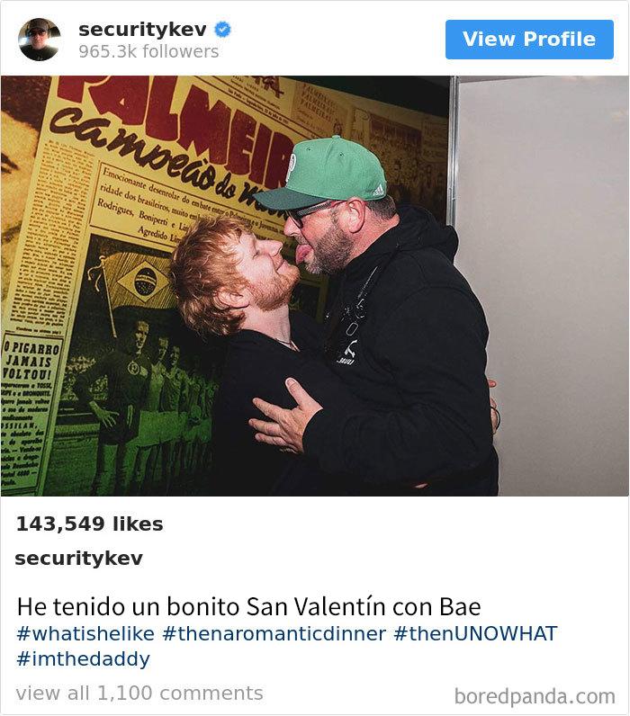 El guardaespaldas de Ed Sheeran tiene Instagram con 965.000 seguidores, y es mejor que el de su jefe