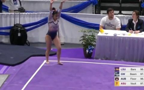 La gimnasta Samantha Cerio se parte las dos piernas