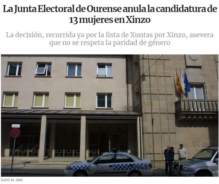 La Junta Electoral de Ourense anula la candidatura de 13 mujeres por no respetar la paridad