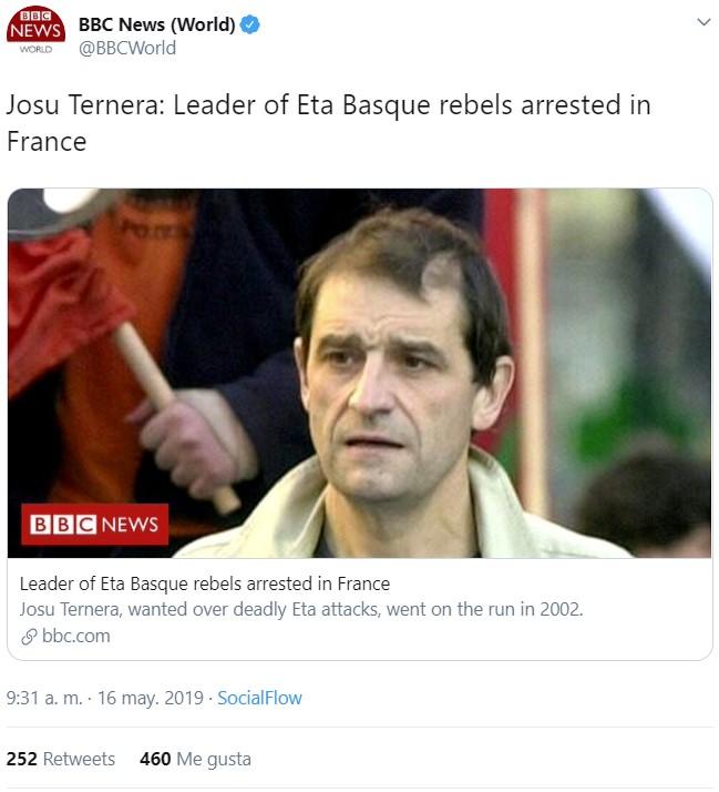 """""""Josu Ternera: el líder de los rebeldes vascos de ETA es arrestado en Francia"""""""