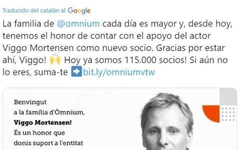 Viggo Mortensen se hace socio de la asociación independentista Òmnium Cultural