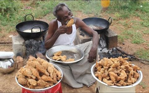 Cocinando 100 patas de pollo y 100 alitas al estilo KFC en una aldea de la india