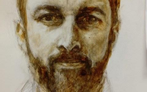 Un artista pinta un retrato de Santiago Abascal con su propia mierda (la del artista)