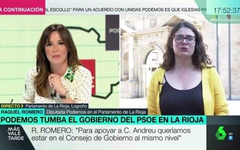 Tensa entrevista entre Raquel Romero (Podemos La Rioja) y Mámen Mendizábal en Más Vale Tarde