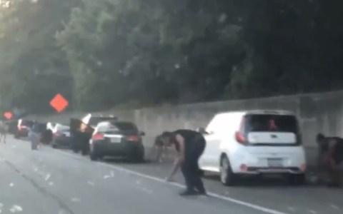 100.000$ en billetes volando por la carretera y la policia pide que los que pillaron billets que los devuelvan