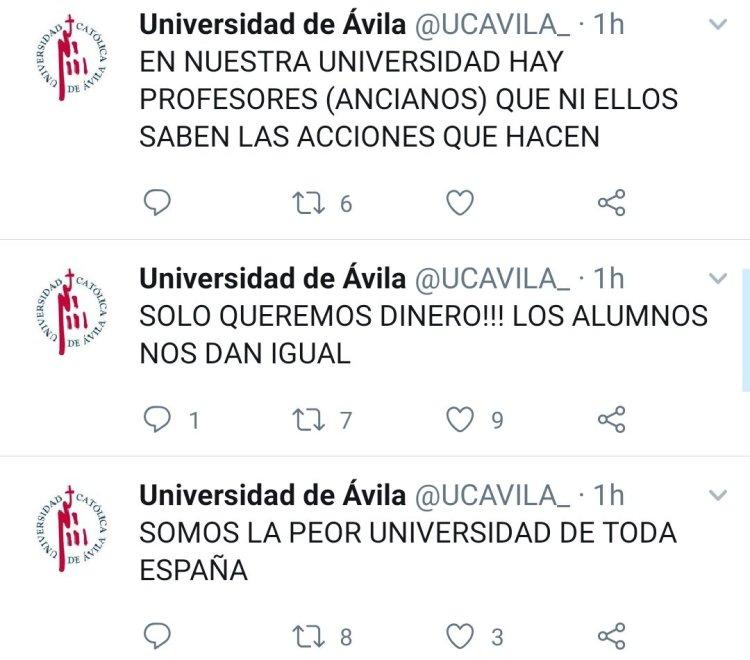Llamadme desconfiado pero creo que alguien ha hackeado la cuenta de la universidad de Ávila.