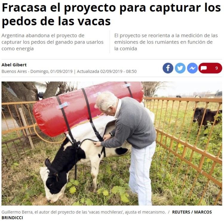 ¿Cómo? ¿Que ponerles mochilas gigantes a las vacas en las que se acumulen sus pedos para posteriormente generar energía es una idea que no ha funcionado? Quién lo iba a imaginar...