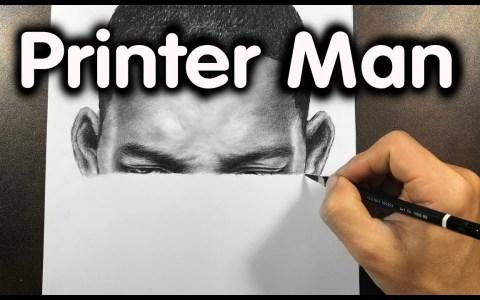 Pintando a Will Smith imitando a una impresora