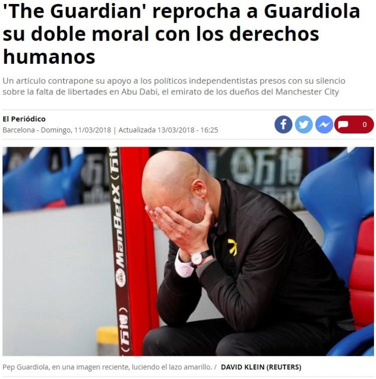 Guardiola no raja del país que le paga porque no quiere convertirse en Guardiadios