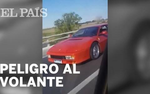 Un Ferrari Testarossa provoca el accidente de un coche que intentaba adelantarle