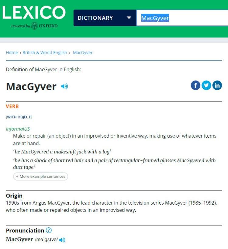 """Tu ahí tan tranquilo, sin saber que en el prestigioso diccionario Oxford está el término """"MacGyver"""" como verbo"""