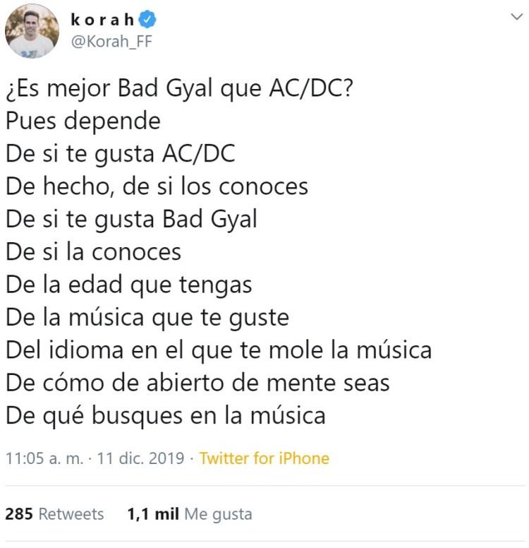 ¿Es mejor Bad Gyal que AC/DC?