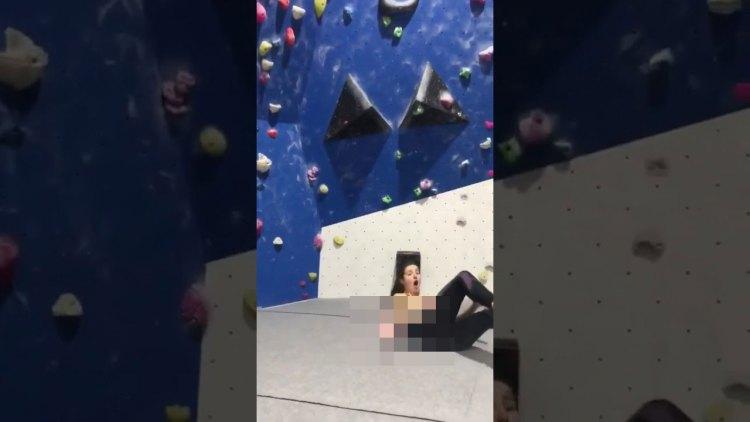 Dura caída durante una sesión de escalada indoor